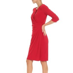Kelby Faux-Wrap Three-Quarter Sleeve Dress